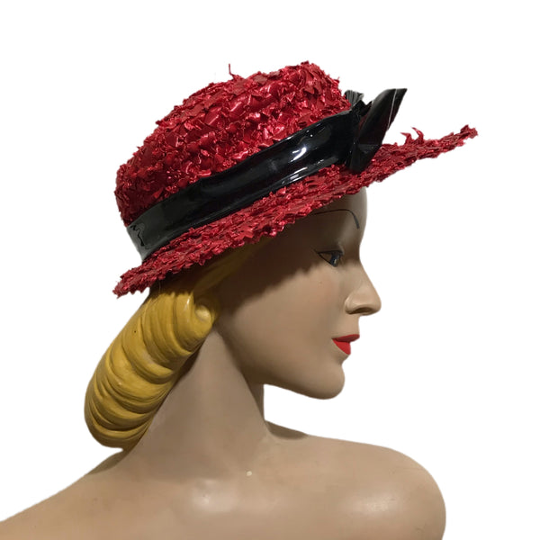 Red Shaggy Cello Braided Hat with Black Patent Bow circa 1940s