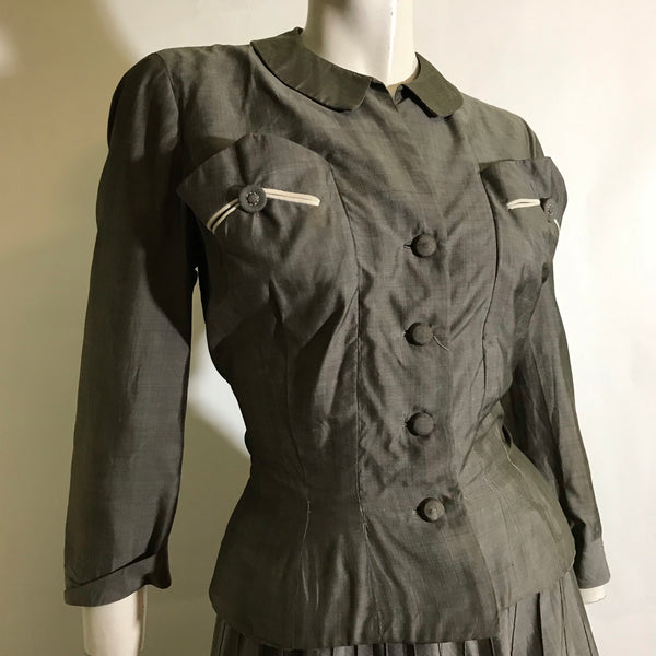 Pewter Grey Silk Nipped Waist 2 pc New Look Suit circa 1940s