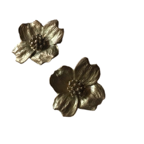 Brushed Gold 4 Petal Dogwood Flower Clip Earrings circa 1960s