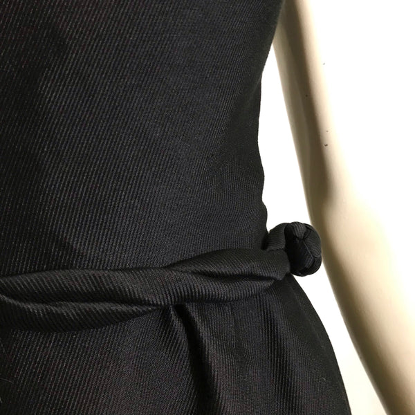 Little Black Cocktail Dress with Knotted Belt Detail circa 1960s