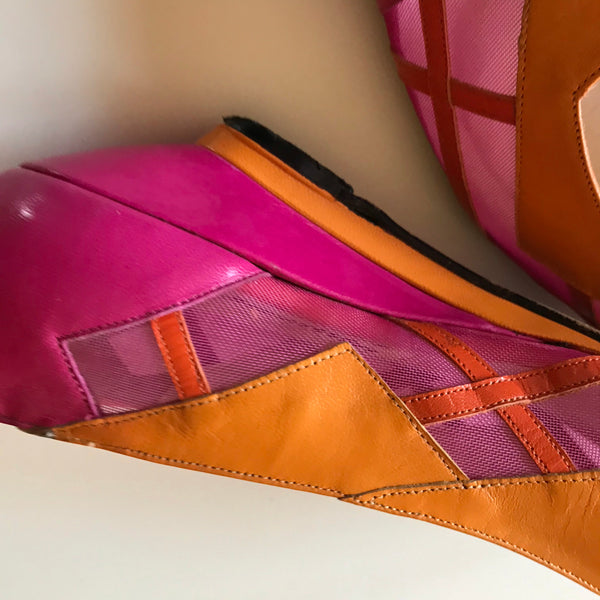 Bright Orange and Pink Wedge Heel Shoes Flats circa 1980s 7