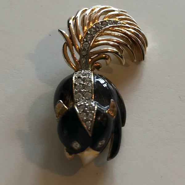 Precious Black Enameled Skunk Brooch with Rhinestones circa 1950s
