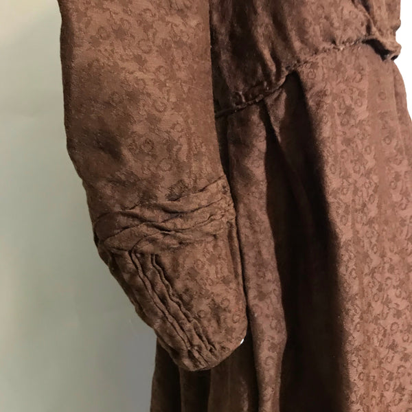 Deep Cinnamon Textured Wool Dress circa 1850