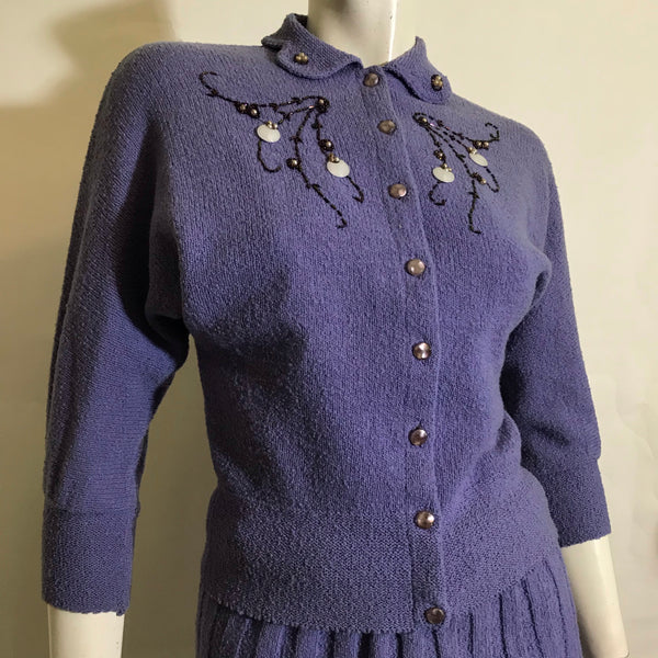 Rare Periwinkle Wool Knit 2 Pc Beaded and Sequined Sweater Dress Set circa 1940s