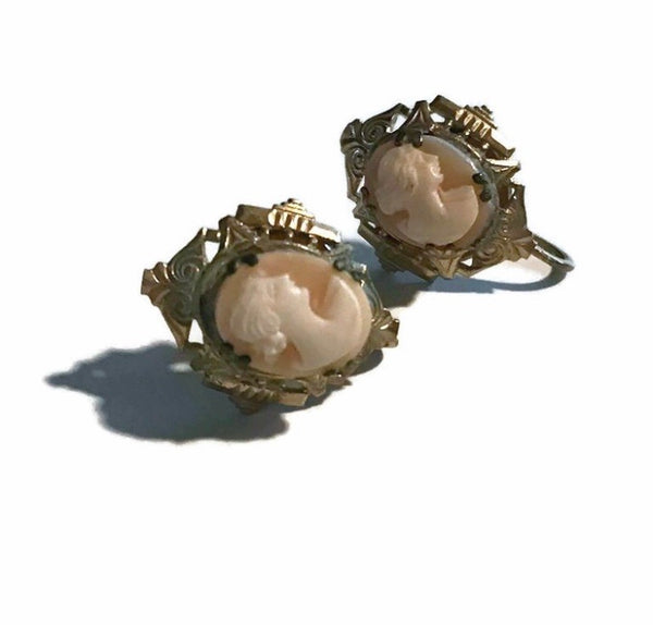 Geniune Cameo Profile Screw Back Clip Earrings circa Early 1900s