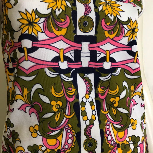 Bright  Funky Pink & Yellow and Pink Art Print White Polyester Sleeveless Top circa 1970s