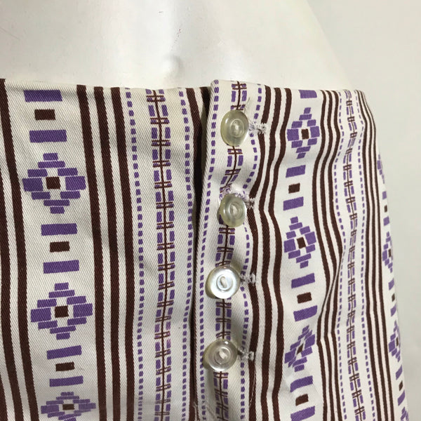 Purple and Cocoa Abstract Print Low Rise Shorts circa 1970s