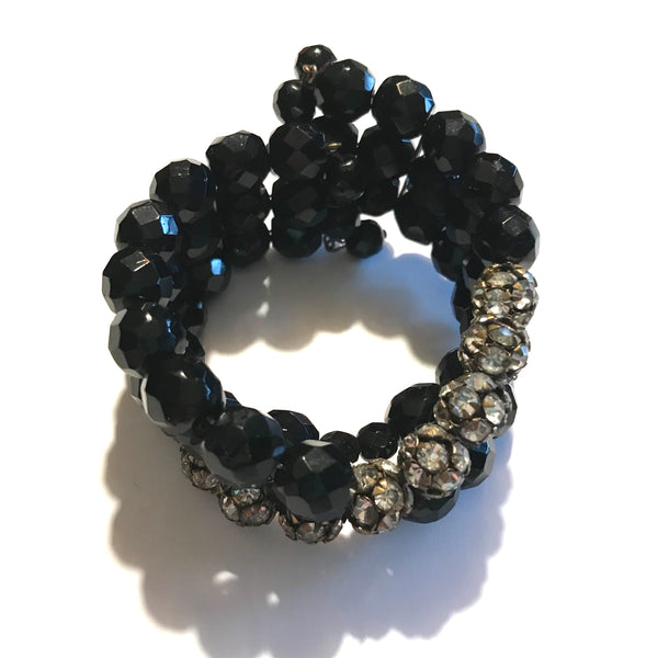 Panther Black Glass Bead and Rhinestones Wired Wrap Bracelet circa 1940s
