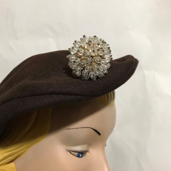 Crystal Spiked Ball Adorned Cocoa Felted Wool Sculpted Asymetrical Hat circa 1930s