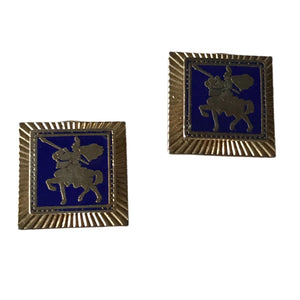 Blue Enameled Square Clip Earrings with Knights on Horseback circa 1960s