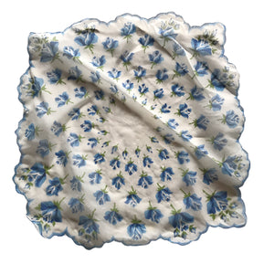 Blue Roses Scalloped Edge Sheer Nylon Handkerchief circa 1950s