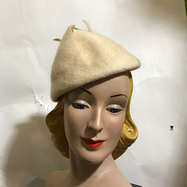 Ivory Shaggy Felted Wool Peaked Hat with Open Top circa 1960s