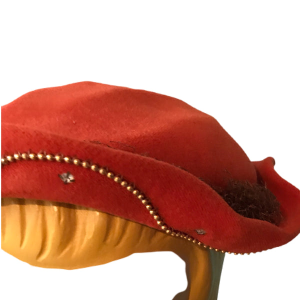 Cinnamon Velvet Sculpted Hat with Rhinestones circa 1930s