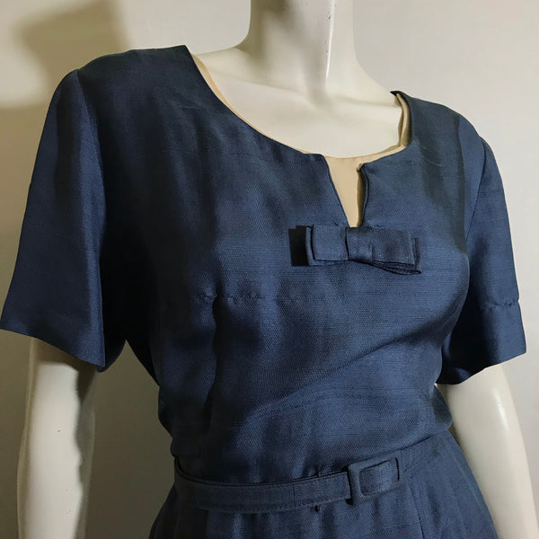 Dusk Blue Silk Day Dress circa 1950s
