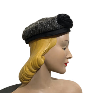 Rainbow Lurex and Bronze Satin Pill Box Hat circa 1960s