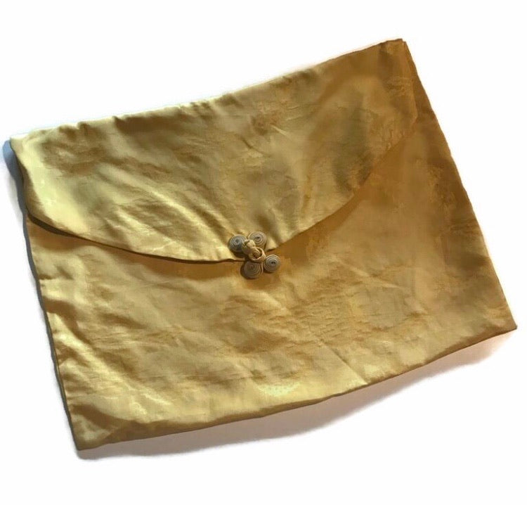Goldenrod Yellow Rayon Lingerie Bag circa 1940s
