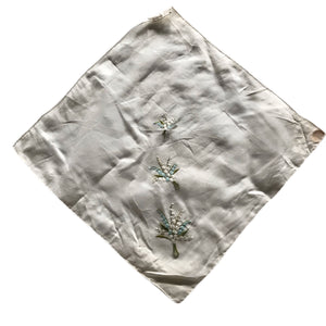 Lily of the Valley Flower Embroidered Cotton Voile Handkerchief circa 1940s
