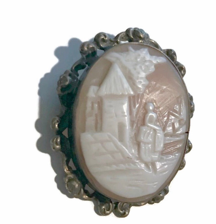 Carved Shell Peach Cameo Brooch Pendant Woman and House  circa 1930s