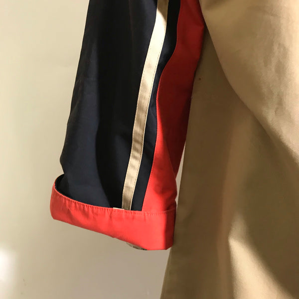 Bonnie Cashin Red and Navy Cotton Poplin Spring Coat circa 1960s