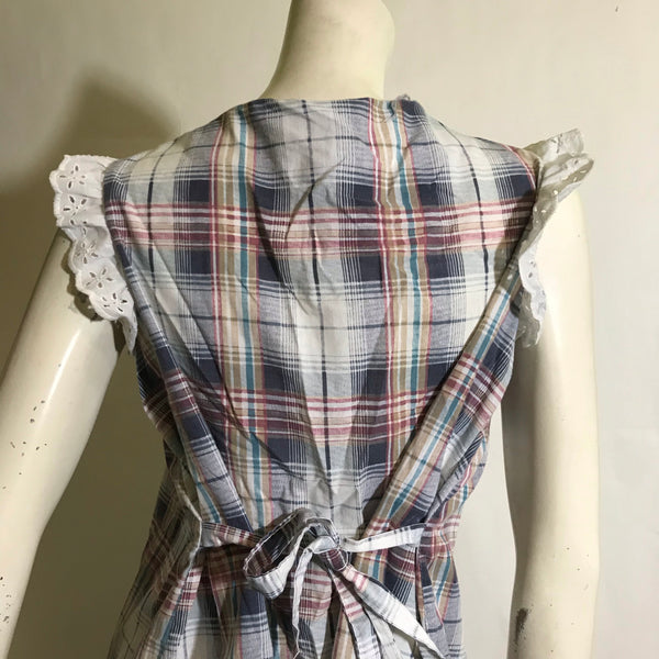 Red and Blue Plaid Tunic Blouse with Eyelet Lace circa 1960s