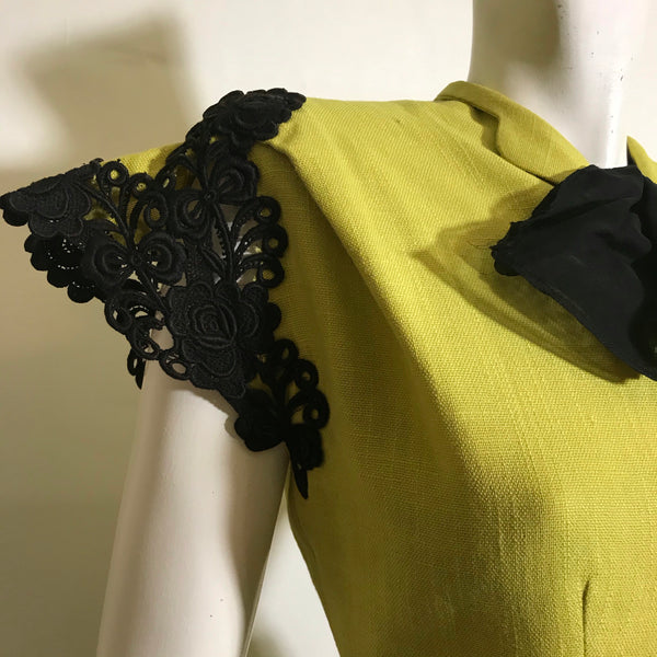 CHARTREUSE! Black Lace Trimmed 2 Piece Dress Set with Pussy Bow circa 1940s
