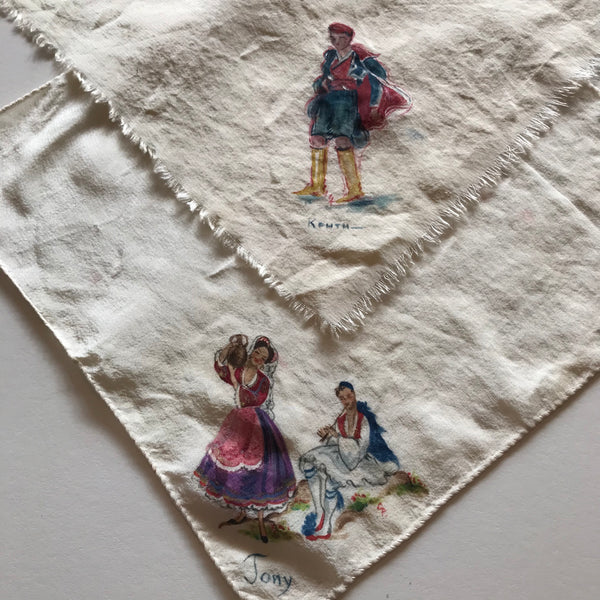 Pair Hand Painted Ivory Silk Handkerchiefs Spanish Theme circa 1940s