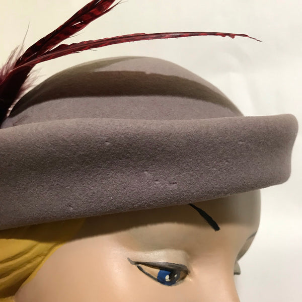 Felted Wool Grey Hat with Vivid Wine Colored Feathers circa 1940s