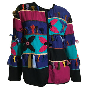 Pink, Teal and Black Artsy Patchwork Jacket circa 1980s