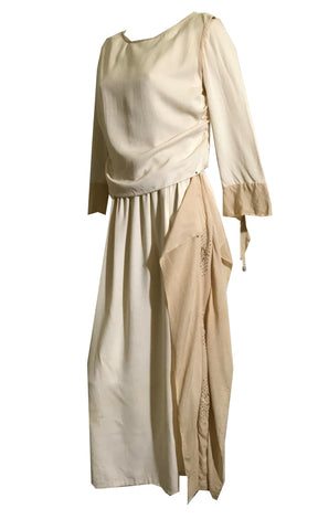 Winter White Weighted Silk Embroidered Dress with Peaked Sleeves circa 1918