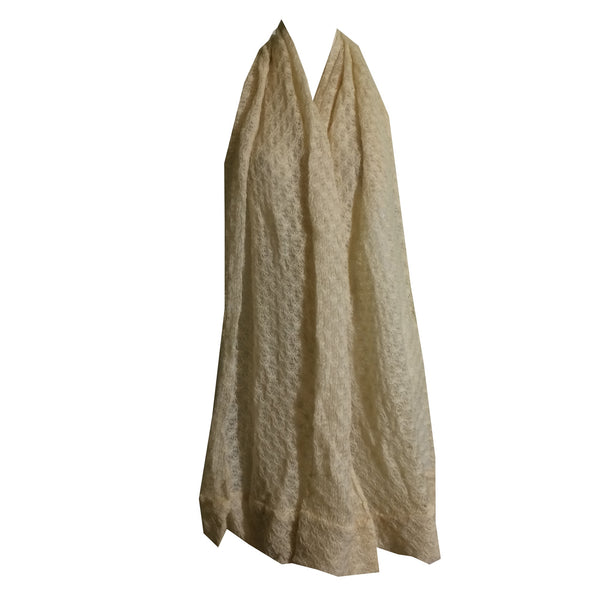 Ivory Wide Knit Scarf circa 1960s