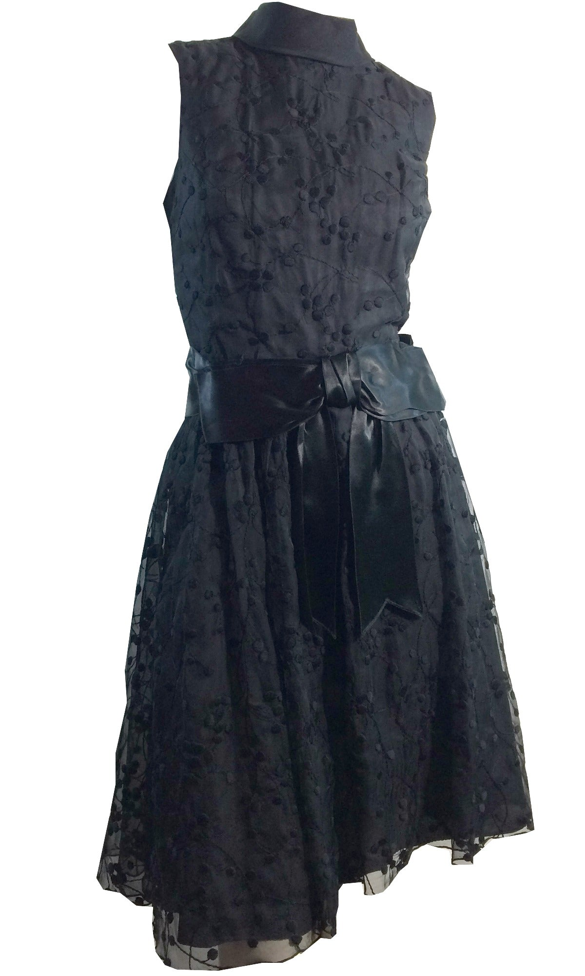 Eyelet Chiffon and Satin Bow Trimmed Sleeveless Cocktail Dress circa 1960s