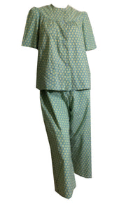 Aqua Blue and Mint Green Floral Cotton Pajamas circa 1950s