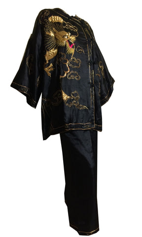 Golden Dragon Metallic Thread Embroidered Silk Pyjama Set circa 1930s