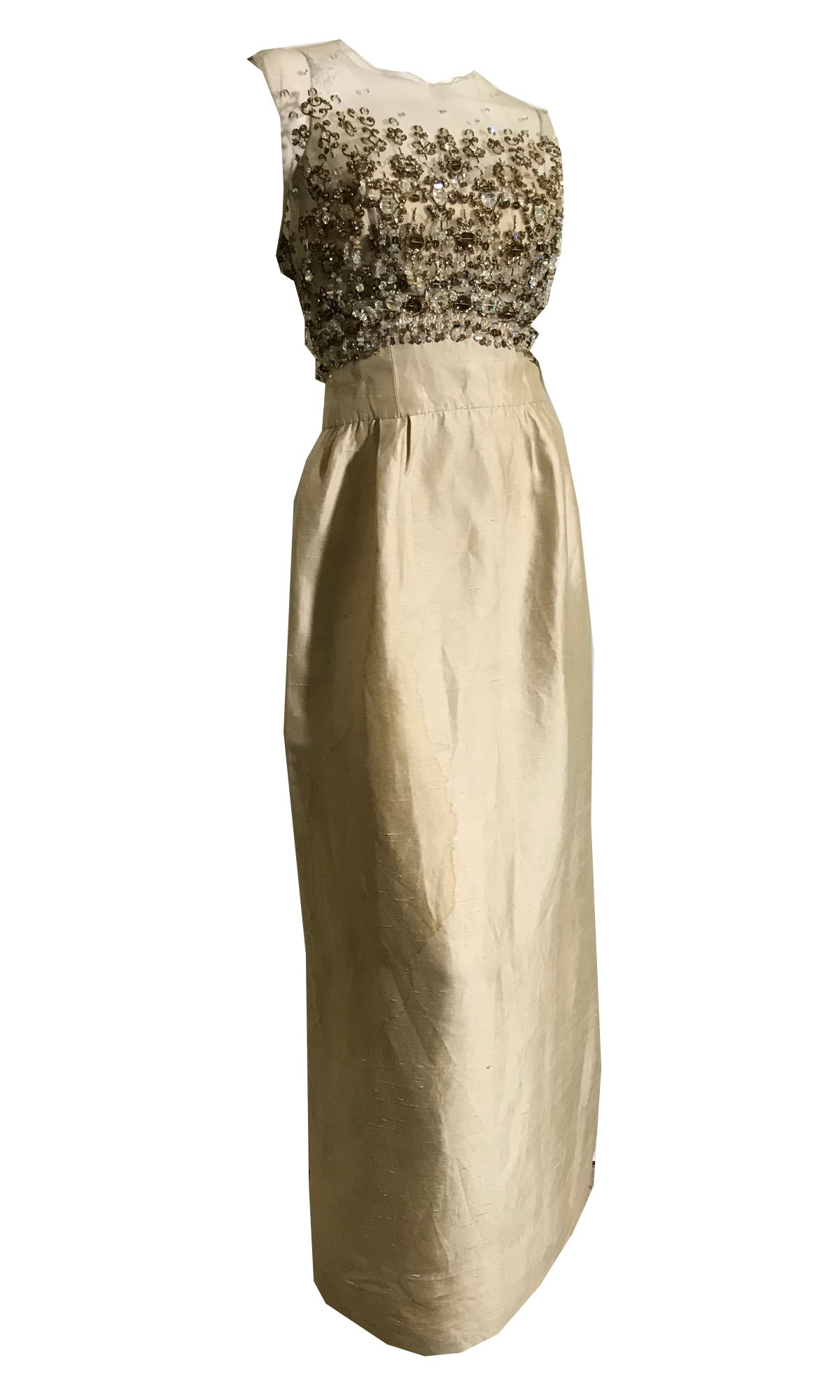 Rare Crystal Beaded Bodice Candlight Silk Sleeveless Evening Gown circa 1960s John Kavanagh