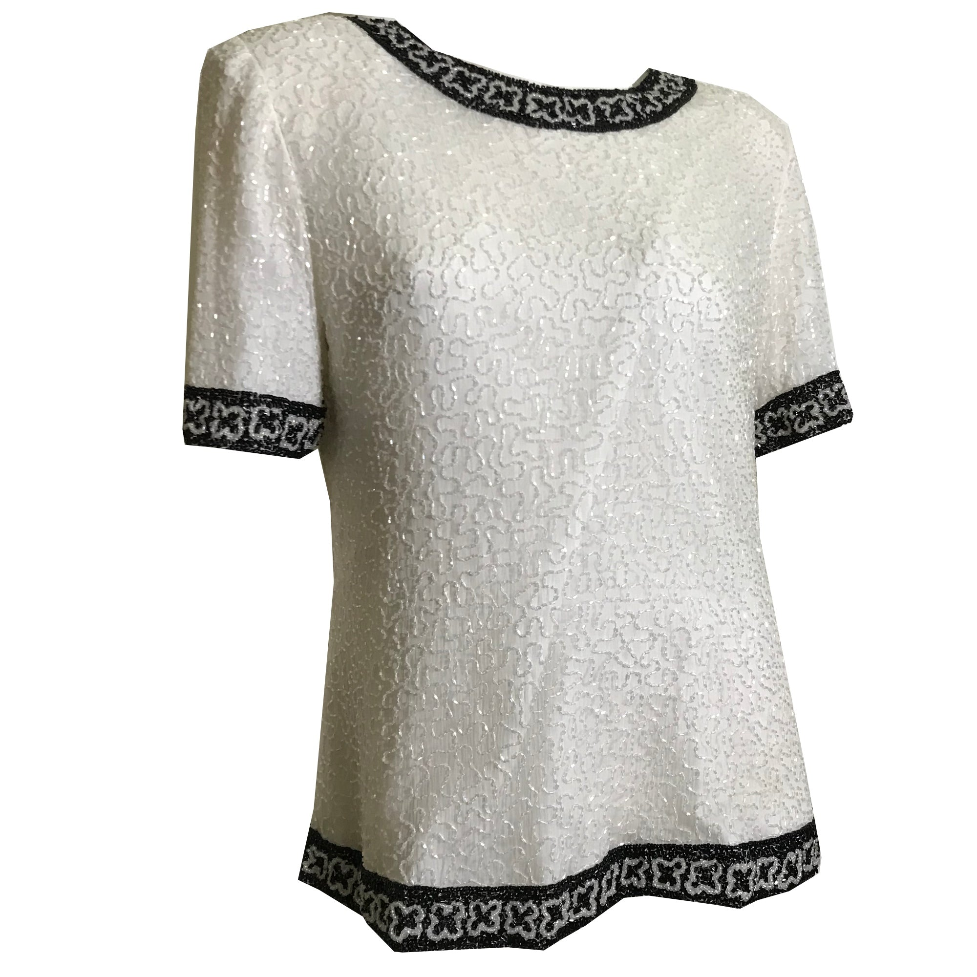Black and White Beaded Cocktail Blouse with Padded Shoulders circa 1980s