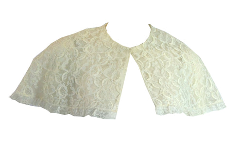 Sweet White Lace Sheer Nylon Cape Style Bed Jacket circa 1960s