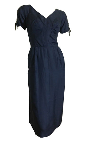 Deep Blue Silk Dress with Lace-Up Sleeves circa 1950s