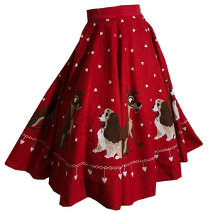 RARE Red and Black Disney Lady and the Tramp Circle Skirt with Hearts circa 1950s