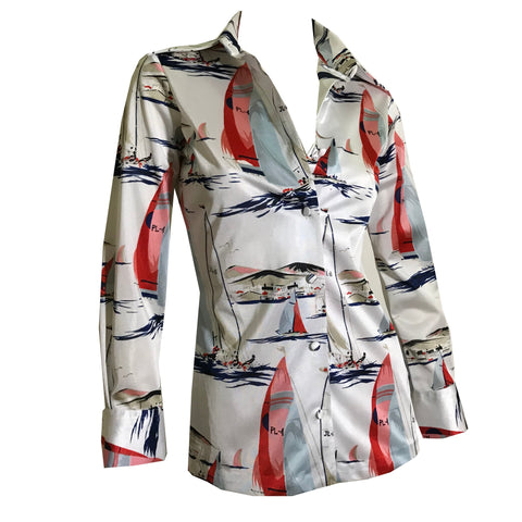 Nautical Novelty Print Sailboat Print Jersey Button Front Blouse circa 1970s