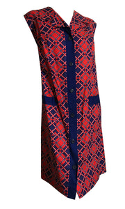 Vivid Red and Blue Lattice Print Shift Dress circa 1960s