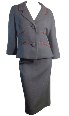 Slate Blue Wool Boxy Cut Suit w/ Lilac Satin Trim circa 1960s