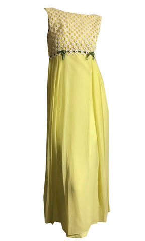 Sunny Yellow and Moss Green Chiffon and Lace Maxi Dress circa 1960s