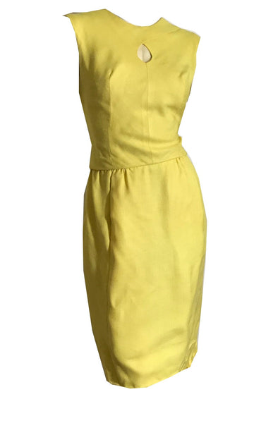 Lemony Yellow Sleeveless Dress with Keyhole Neckline and Scarf circa 1960s