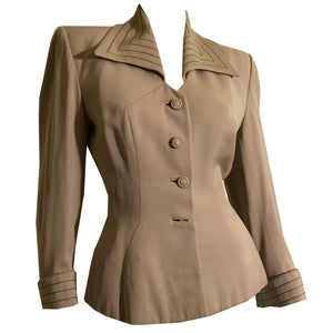 Top Stiched Tan Wool Nipped Waist Jacket circa 1940s