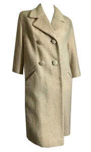 Ivory Textured Wool Big Button Coat circa 1960s Lilli Ann