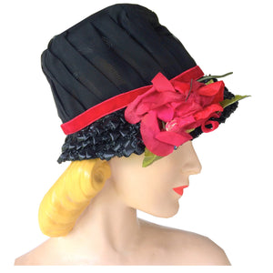 Sheer Saucy Black Sheer Chiffon Bucket Hat w/ Red Rose and Velvet circa 1960s