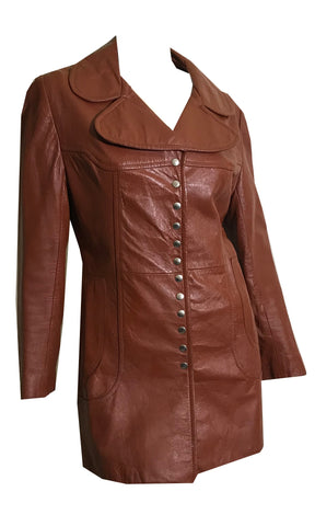 Cinnamon Leather Snap Down Jacket circa 1970s