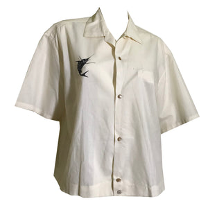 White Silk Button Front Hawaiian Shirt with Marlin Fish circa 1960s