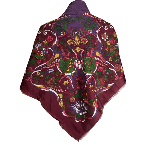 Purple and Wine Rococo Design Vivid Colors Large Square Scarf circa 1980s