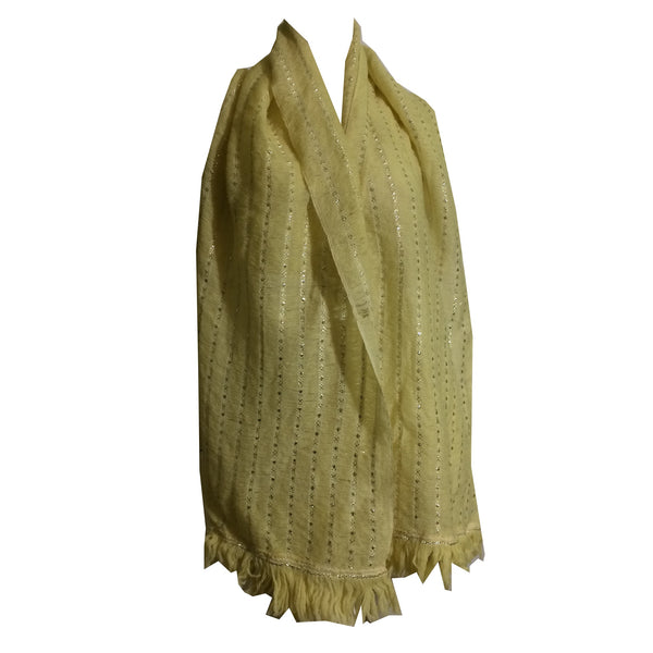 Yellow and Silver Orlon Knit Oblong Scarf circa 1960s